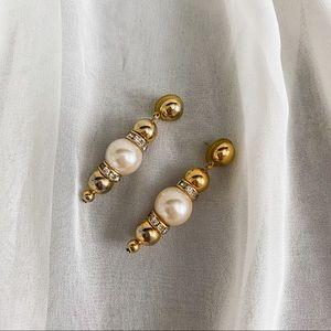 VTG Layered Bead Pearl CZ Diamond Dangle Earrings